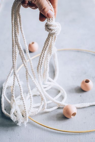 Making knots for Herb Drying Rack