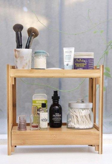Amazon Tiny Tree Bamboo Organizer for bathroom countertop storage