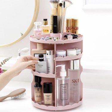 Revolving Tiered Beauty Organizer for bathroom countertop storage