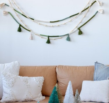 A garland is an easy way to dress up a dull wall.