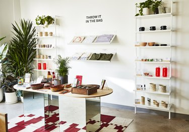 photo of shelves and table with merchandise