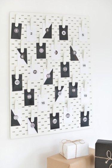 IKEA pegboard advent calendar DIY.