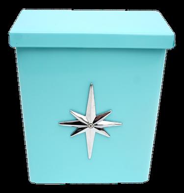 Vintage turquoise midcentury modern mailbox with silver starburst detail