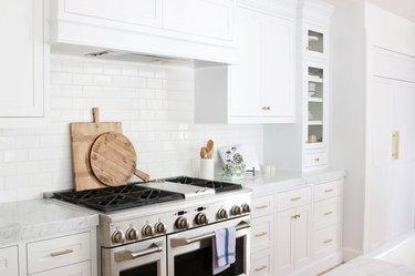 Farmhouse kitchen with white subway-tile backsplash