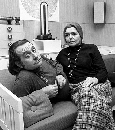 Ettore Sottsass and Fernanda Pivano at their home in Milan in 1969.