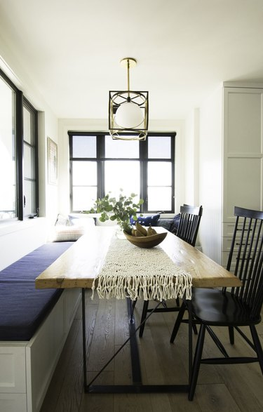 dining table with hanging light