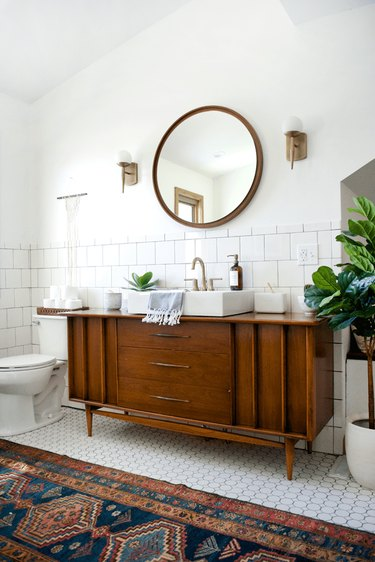 Vintage dresser repurposed for bathroom sink