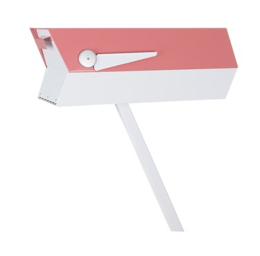 Pink and white midcentury modern mailbox in retro design