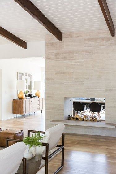 Two-sided fireplace in mid-century-home