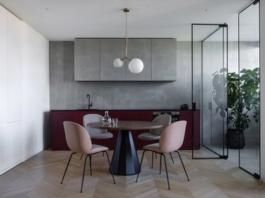 purple kitchen color idea with matte grey cabinets and  wine colored kitchen cabinet