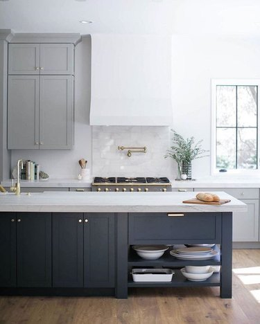 gray kitchen color idea with two-tone cabinets in light and dark gray