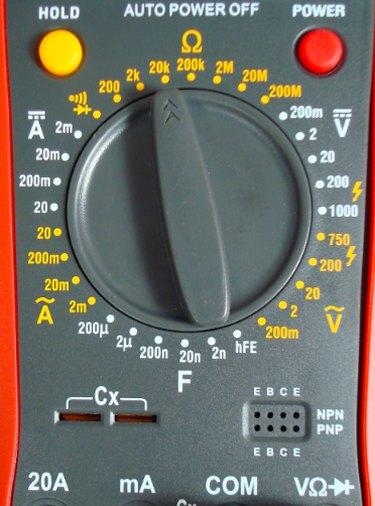 A multimeter dial.