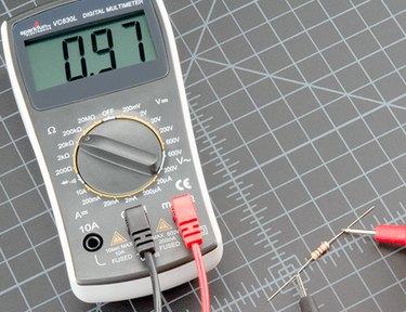 Testing a resistor.
