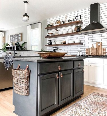 gray kitchen color idea with dark gray island and gray countertop