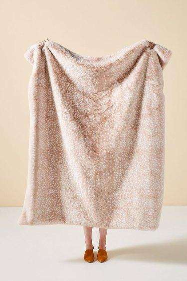 fawn faux fur throw blanket