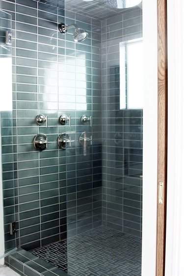 modern shower idea with grid green subway tile modern bathroom shower