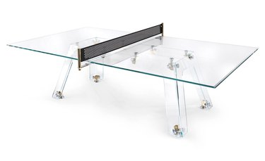 Crystal ping-pong table with gold hardware
