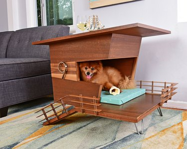 Mid-century wooden dog bed