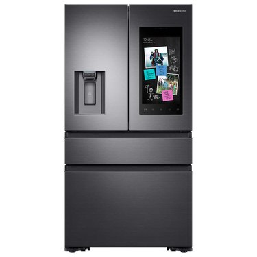 Gray refrigerator with touch screen