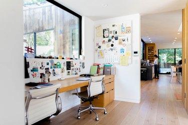 blonde wood floor, home office