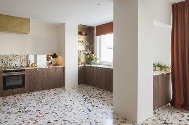 kitchen space with terrazzo floor