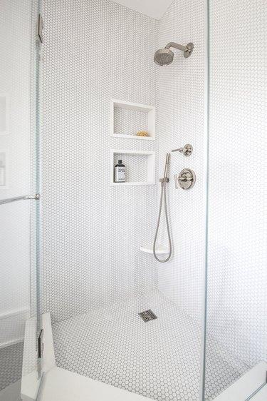 White Penny Tile in shower