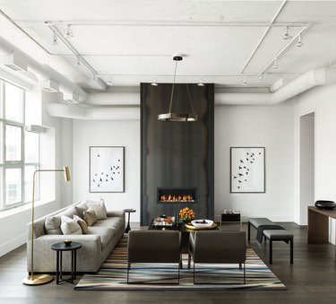 modern living room with hot rolled steel front fireplace