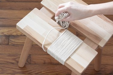 Wrapping cotton cord around seat