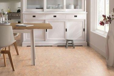 Linoleum flooring in a dining room