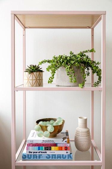 IKEA metal shelf spray painted with blush pink chalk paint