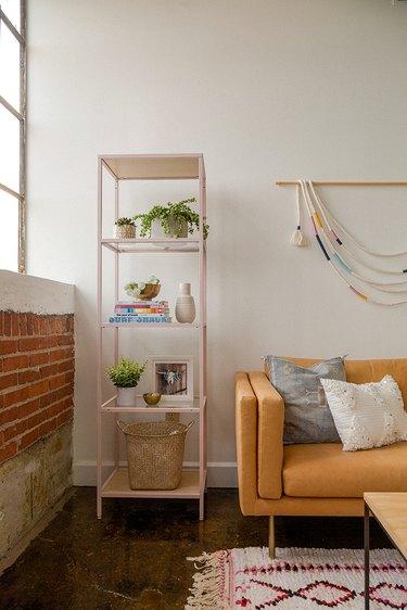 IKEA metal shelf in bohemian living room