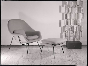 black and white photo of midcentury modern chair