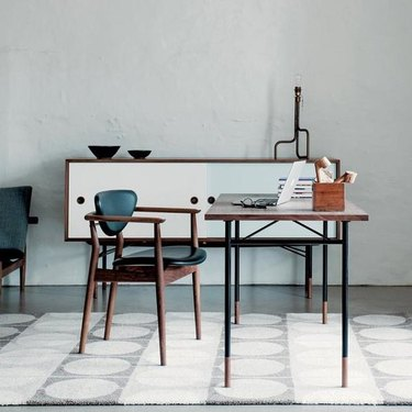scandinavian minimal style blue chair and table