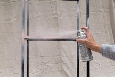 Spray painting an IKEA metal shelf