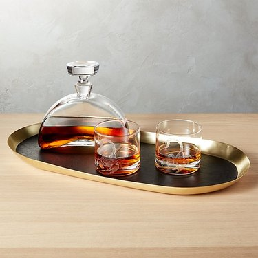 leather bar tray with decanter and glasses