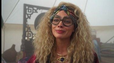 Margot Robbie in a tent in Dollface