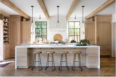 farmhouse kitchen island idea with wood cabinets