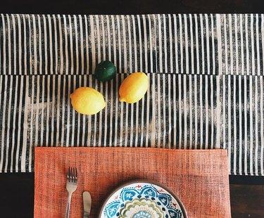 julie peach hand-blocked linen table runner