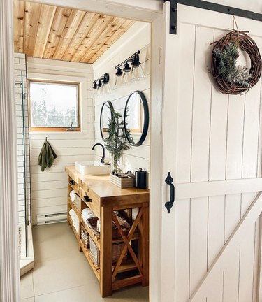 wood ceiling and shiplap in small farmhouse bathroom idea