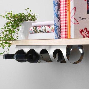 shelf with wine bottle rack underneath