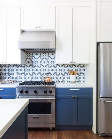 Blue and white Moroccan tile backsplash with blue and white cabinets