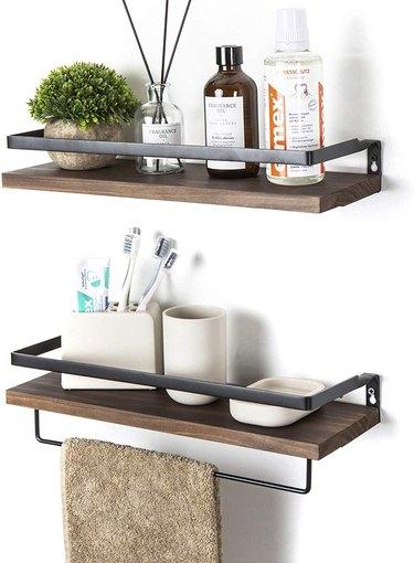wall mounted bathroom storage shelves