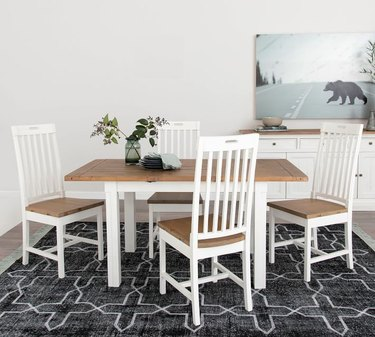 salvaged wood farmhouse table idea with white finish