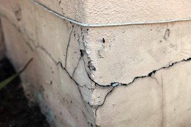 Cracked foundation corner.