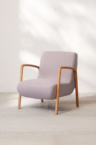 lavender lounge chair with wooden frame