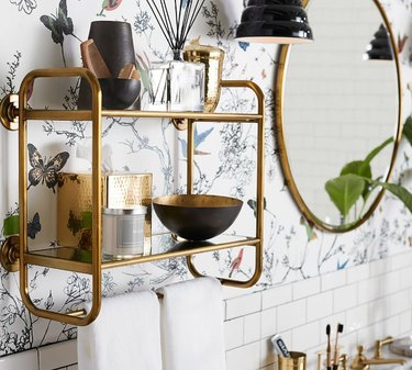floating two-tiered bathroom shelf