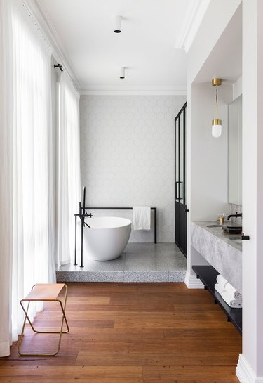 split level contemporary bathroom in black, white, gray