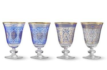 hanukkah blue and gold goblets