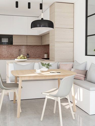 Mixed textures and surfaces as well as shades of cream.