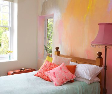 abstract wall mural on bedroom wall